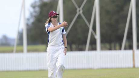 Carly Leeson fielding for Harwood in the Lower Clarence Cricket Association Maclean Bowling Club First Grade match between Harwood and Maclean United at Harwood Oval on Saturday, 24th of October, 2015. Photo Bill North / Daily Examiner