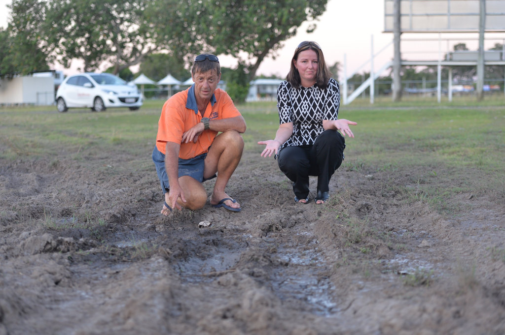 Eastern Swans Football Club president Peter Kiegerl and treasurer Katrina Stower are fed up with people tearing up the grounds after it rains.