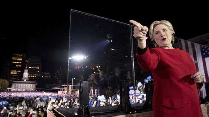 Democratic presidential candidate Hillary Clinton waves after speaking at a rally at Independence Mall in Philadelphia, Monday, Nov. 7, 2016.