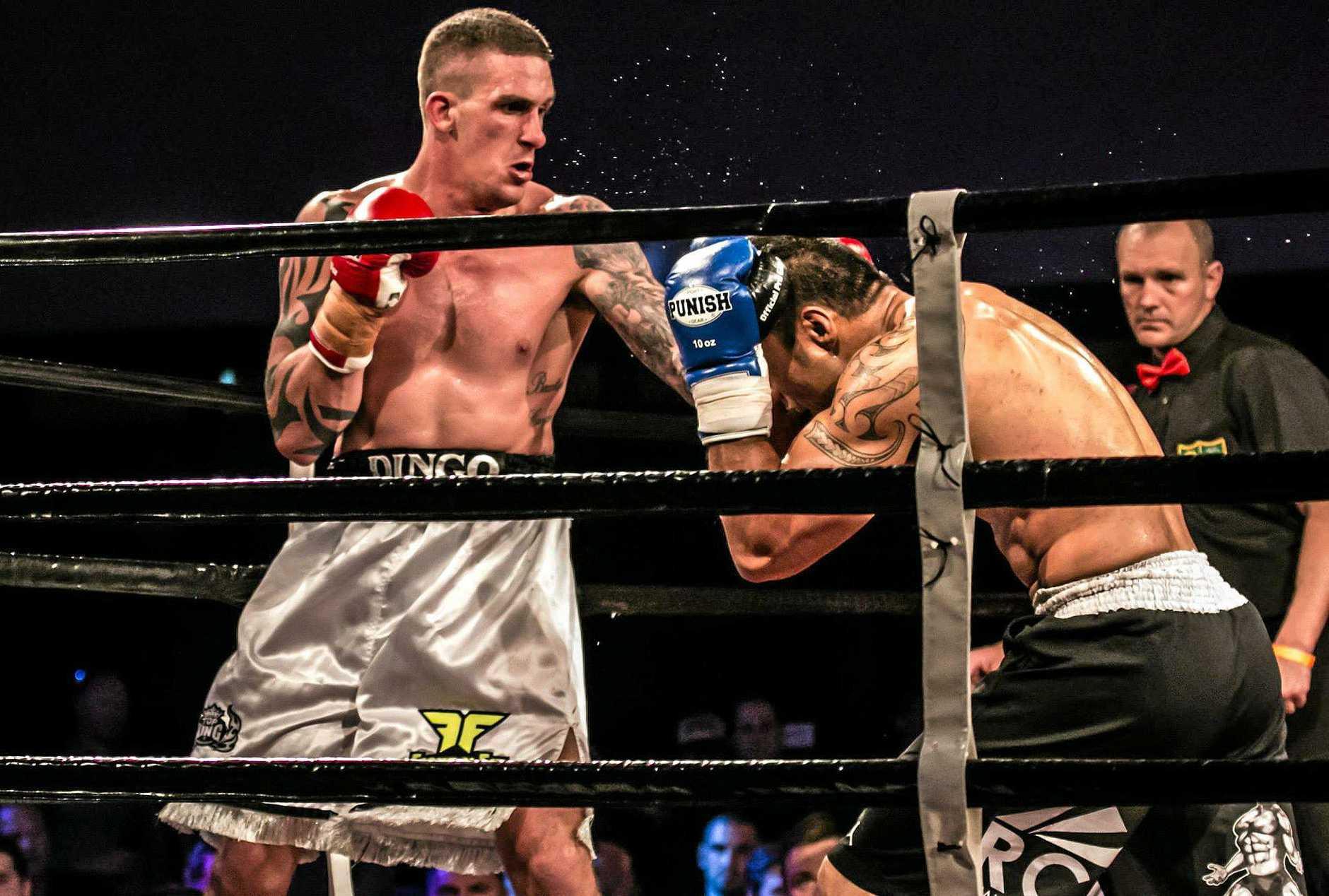Kurtis Pegoraro (left) won the Qld cruiserweight boxing title on Saturday Photo: SM Gullary