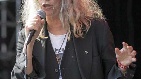 US singer Patti Smith performs at the Gurten music open air festival in Bern, Switzerland, Sunday, July 19, 2015. (Peter Klaunzer/Keystone via AP)