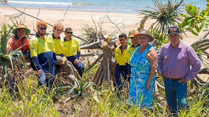 Federal Member for Capricornia Michelle Landry and Livingstone Shire Council Mayor Bill Ludwig and members of the Green Army condemning the blatant vandalism in the cutting down of several large trees on dunes at Lammermoor Beach.