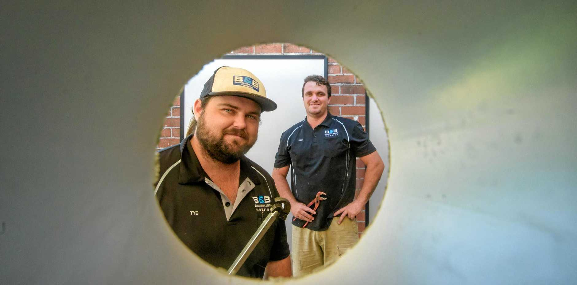Tye Bannerman and Ryan Binge were the winners of the Daily Examiner's Facebook poll for the best plumbers in the Clarence Valley.