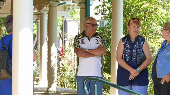 Lynette Daley's mother Thelma Davis and her step-father Gordon Davis outside Grafton Courthouse this morning after the latest hearing of charges relating to Ms Daley's death on a beach near Iluka in January 2011.