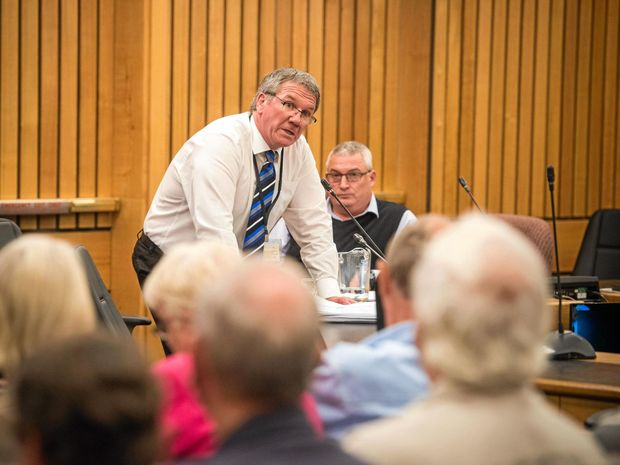 Clarence Valley Council director - corporate Ashley Lindsay talks to a meeting at the Maclean council offices.