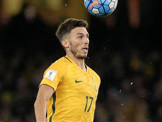 Apo Giannou of Australia during the World Cup qualifier against Japan at Etihad Stadium.