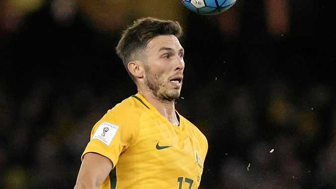 Apo Giannou of Australia during the World Cup qualifier against Japan at Etihad Stadium.