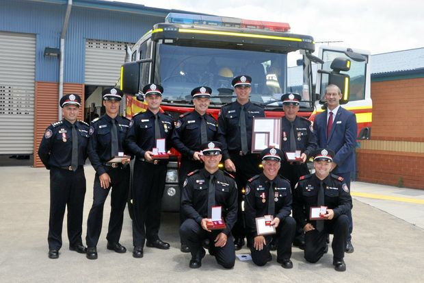 Mayor Mick Curran (back right) with members of the Gympie region QFES after their recent awards.
