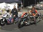 Brad Lemberg and Damian Muscat (in front) at the East Coast Nationals drag racing event in Sydney.