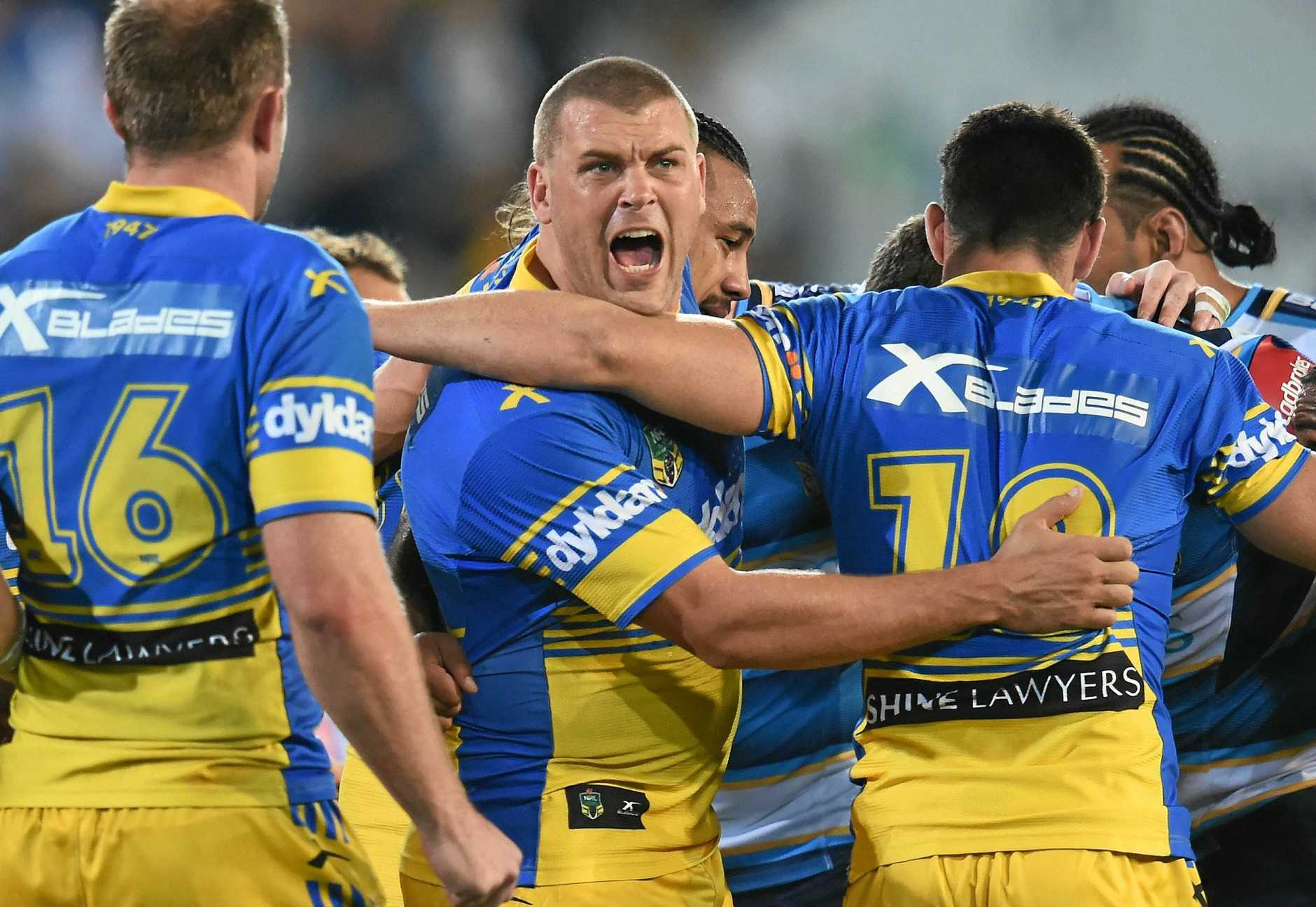 Eels player Danny Wicks reacts during the Round 20 NRL match between the Gold Coast Titans and the Parramatta Eels at CBUS Stadium on the Gold Coast, Saturday, June 23, 2016. (AAP Image/Dave Hunt) NO ARCHIVING, EDITORIAL USE ONLY