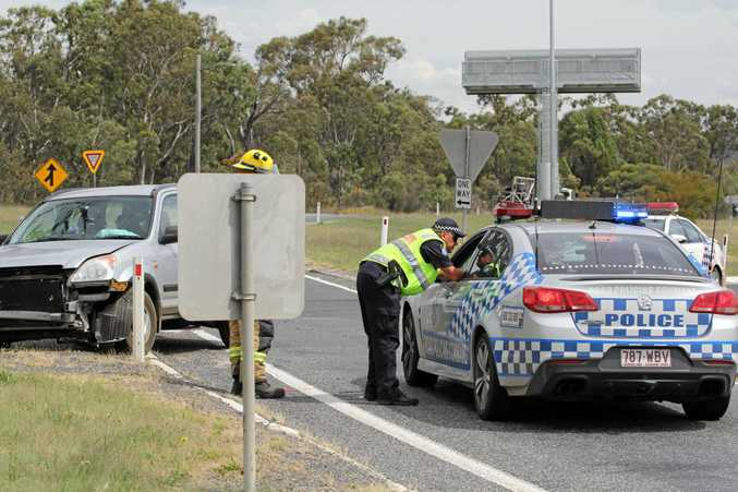 A car and truck collided at Stanthorpe's Southern Bypass on Tuesday afternoon.