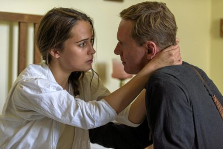 Alicia Vikander and Michael Fassbender in a scene from the movie The Light Between Oceans.