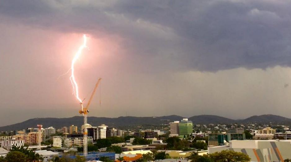Lightning strike in Brisbane during this afternoon's severe thunderstorm.