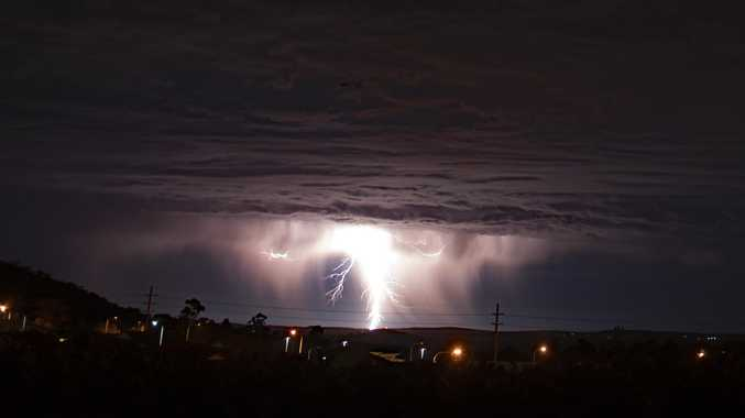 Garry Wilkinson captured the stunning moment a giant lightning bolt hit Toowoomba. Photo Garry Wilkinson