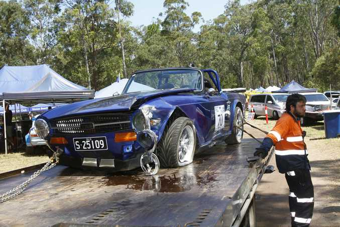 SAD END: A beautifully-prepared 1972 Triumph TR6 suffers heavy damage at the Noosa Hill Climb 2016 Summer Challenge. It was one of many to suffer an accident at what is regarded as Australia's Toughest Hill Climb.