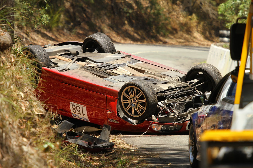 OVERTURNED: 2004 BMW M3 suffers massive damage after rolling at the 2016 Noosa Hill Climb.