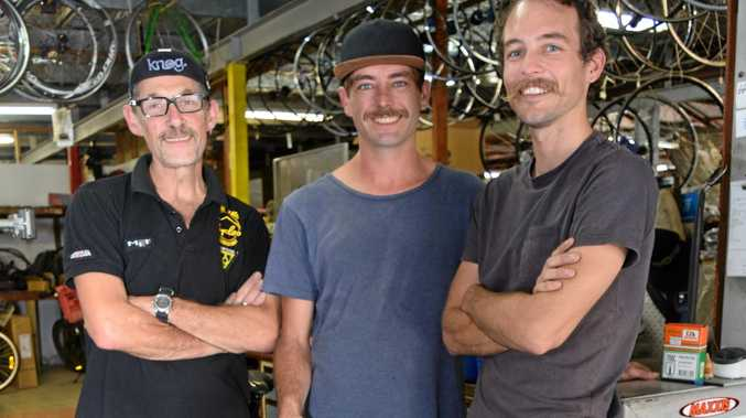 TRUE MO RIDERS: David Martin, Andrew Baguley and Jason Edwards from True Wheels Cycles in Mullum.