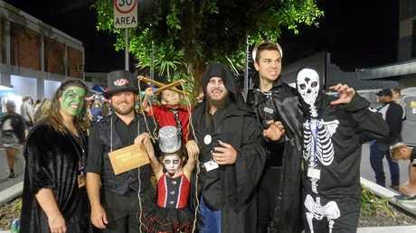 Kerri Carrol, Jamie Stewart, Kendra Stewart, Hamish Stewart, Luke Hayes, Stephen Shanks and Brett Walz practiced being scary at Spooktacular ahead of the Apex Zombie Scene