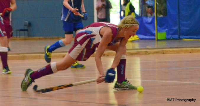 STRIKE: Tyler Gaddes in action for Grafton 1 U13s boys at the State Indoor Championships.