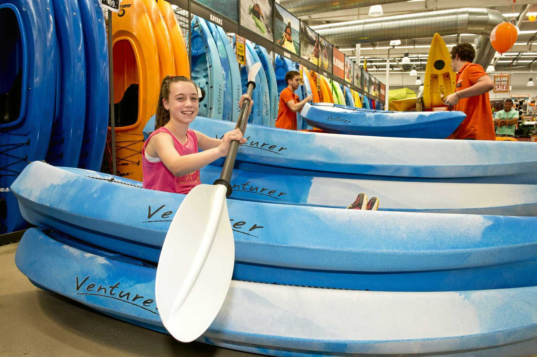 SET TO PADDLE: Bronte Hayes in a kayak at the Anaconda store opening in Toowoomba . Saturday, Nov 29, 2014 .  Photo Nev Madsen / The Chronicle