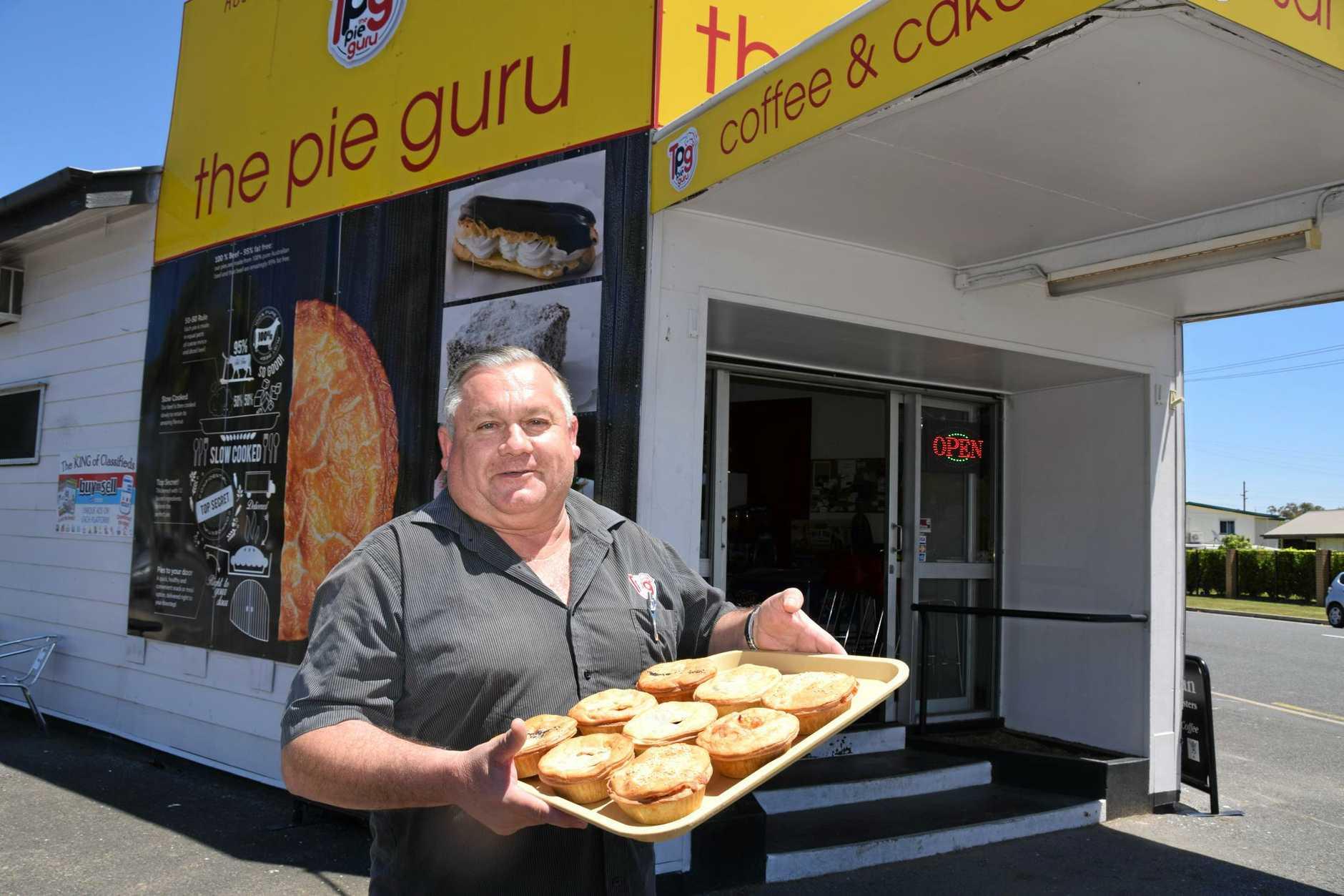 The Pie Guru owner Stevan Davies and his puff pastry goods.