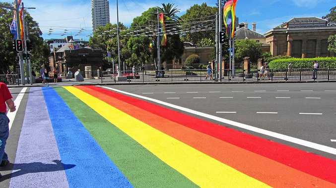 Lismore City Council is looking into a permanent rainbow crossing similar to this one installed during the Sydney Gay and Lesbian Mardi Gras earlier this year.