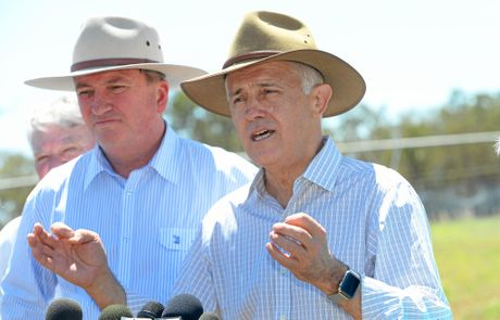 Prime Minister Malcolm Turnbull with Nationals Leader and Deputy PM Barnaby Joyce in Rockhampton earlier this year.