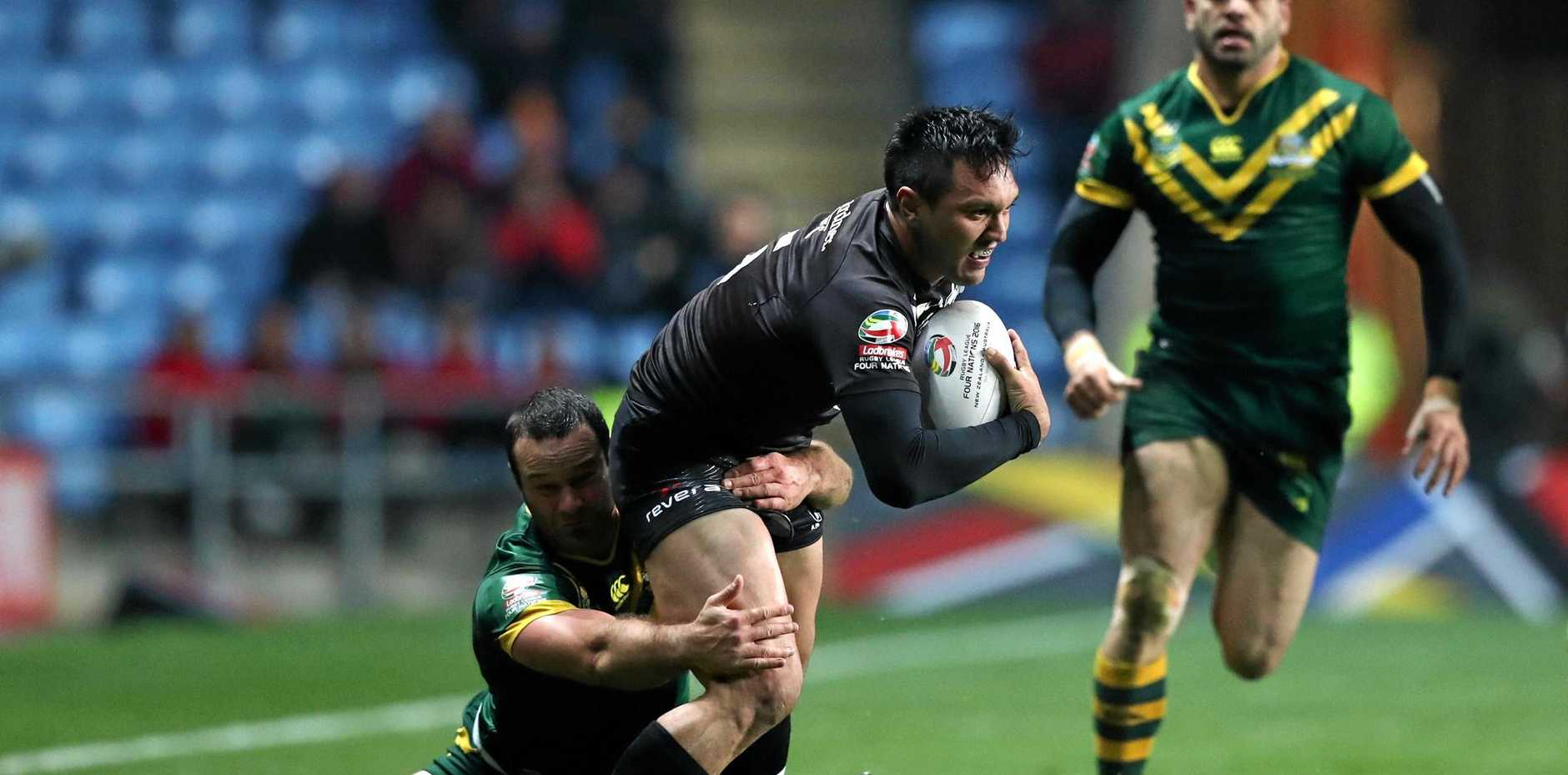 New Zealand's Jordan Rapana is brought down by Australia's Boyd Cordner during their Four Nations rugby league match at the Ricoh Arena, Coventry.
