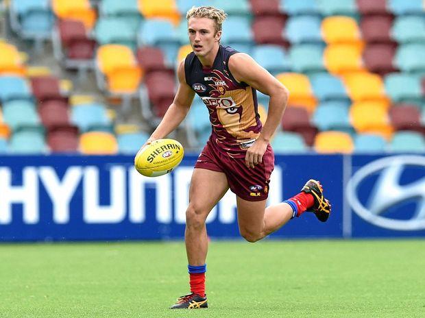 Brisbane Lions player Jaden McGrath runs during training.