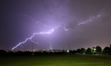 Toowoomba photographer Grant Rolph photographed this image of lightning striking over Toowoomba.