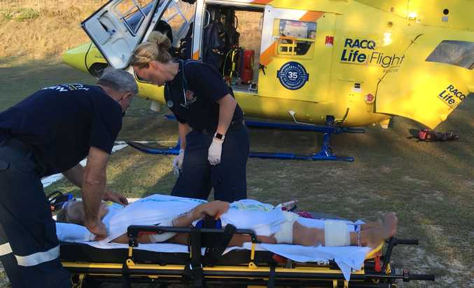 The Bundaberg-based RACQ LifeFlight Rescue helicopter crew had a busy day on Wednesday, flying the injured German woman from Fraser Island to hospital soon after returning from a search for a missing trawler skipper.