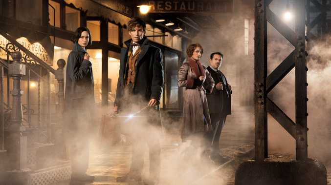 FOR REVIEW AND PREVIEW PURPOSES ONLY. Katherine Waterston, Eddie Redmayne, Alison Sudol and Dan Fogler in a scene from the movie Fantastic Beasts and Where To Find Them. Supplied by Warner Bros.