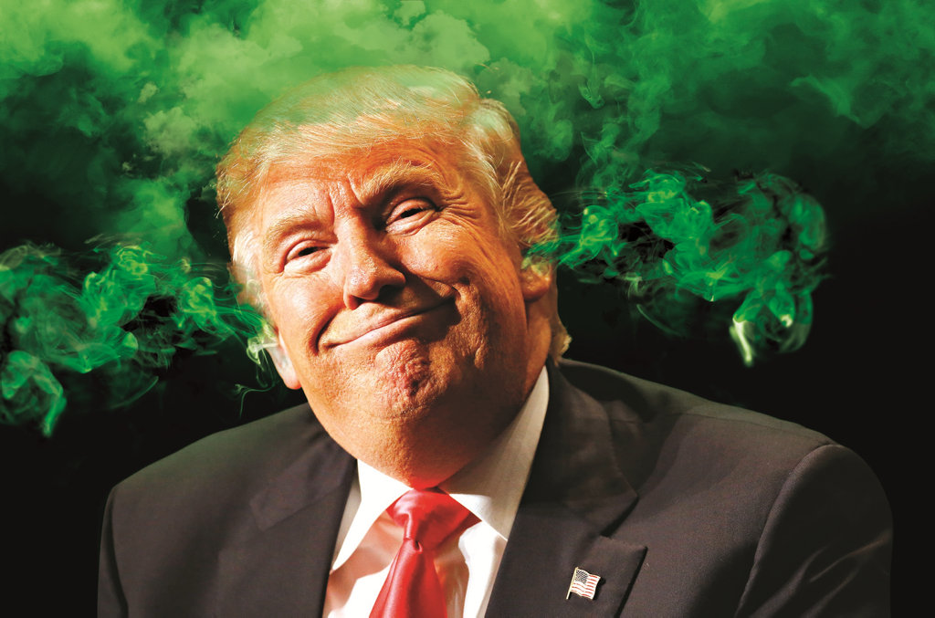 Great clouds of obnoxious smug billow from President-elect Donald Trump's winning ears. Ladies and gentlemen: The leader of the free world. (Photo digitally altered)