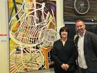 BONY SEAT: Rio Tinto Martin Hanson Memorial Art Awards 2016 judge Jason Smith with Jo Williams and her award winning work, Still Life with Chairs.