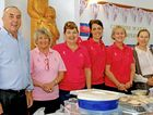 THINK PINK: The Maters cupcake stall staff, Ron Waters, Cecily Leifels, Helen Gudmann, Ebony Hiscox and Di Brown.