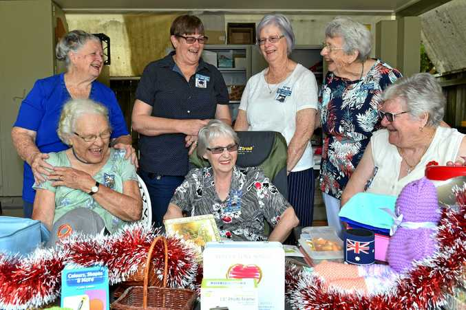 GIVING BACK: Rhonda Trevaskis, Mary Eichmann, Janet Clarendon, Fay Crouch, Marie Elloitt, Jean Broughton and Judy Dalgleish  create Christmas hampers.