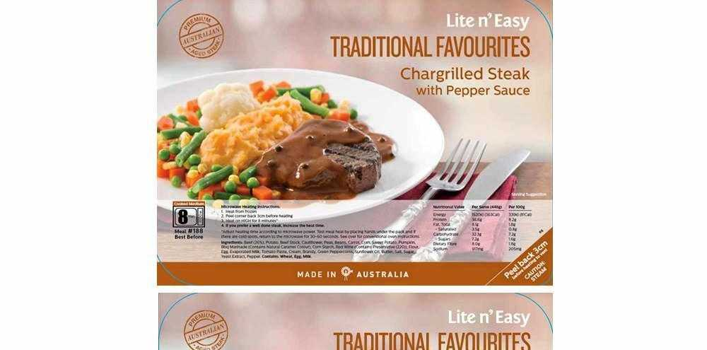 A food recall has been issued for Lite n Easy Traditional Favourites Chargrilled Steak & Pepper Sauce and Chargrilled Steak & Mushroom Sauce.