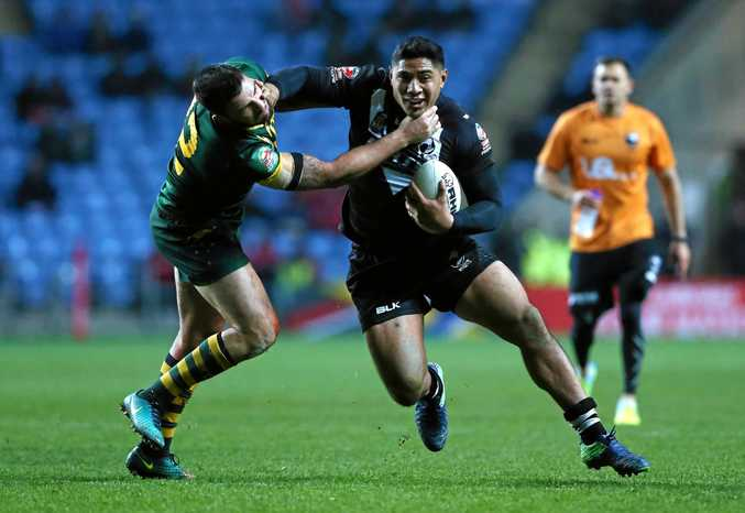 Jason Taumalolo barges through the Australian defence last weekend in Coventry.