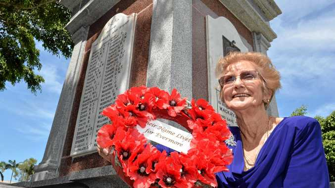 Jean Hammond, of Legacy Mackay, will lay a wreath of poppies at the Jubilee Park Cenotaph during today's Remembrance Day service.