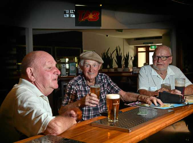 Duporth Tavern in Maroochydore will celebrate its 105th birthday this weekend while long time locals Mick Power, Peter Tierney and Ted Pigriano get warmed up for the event.