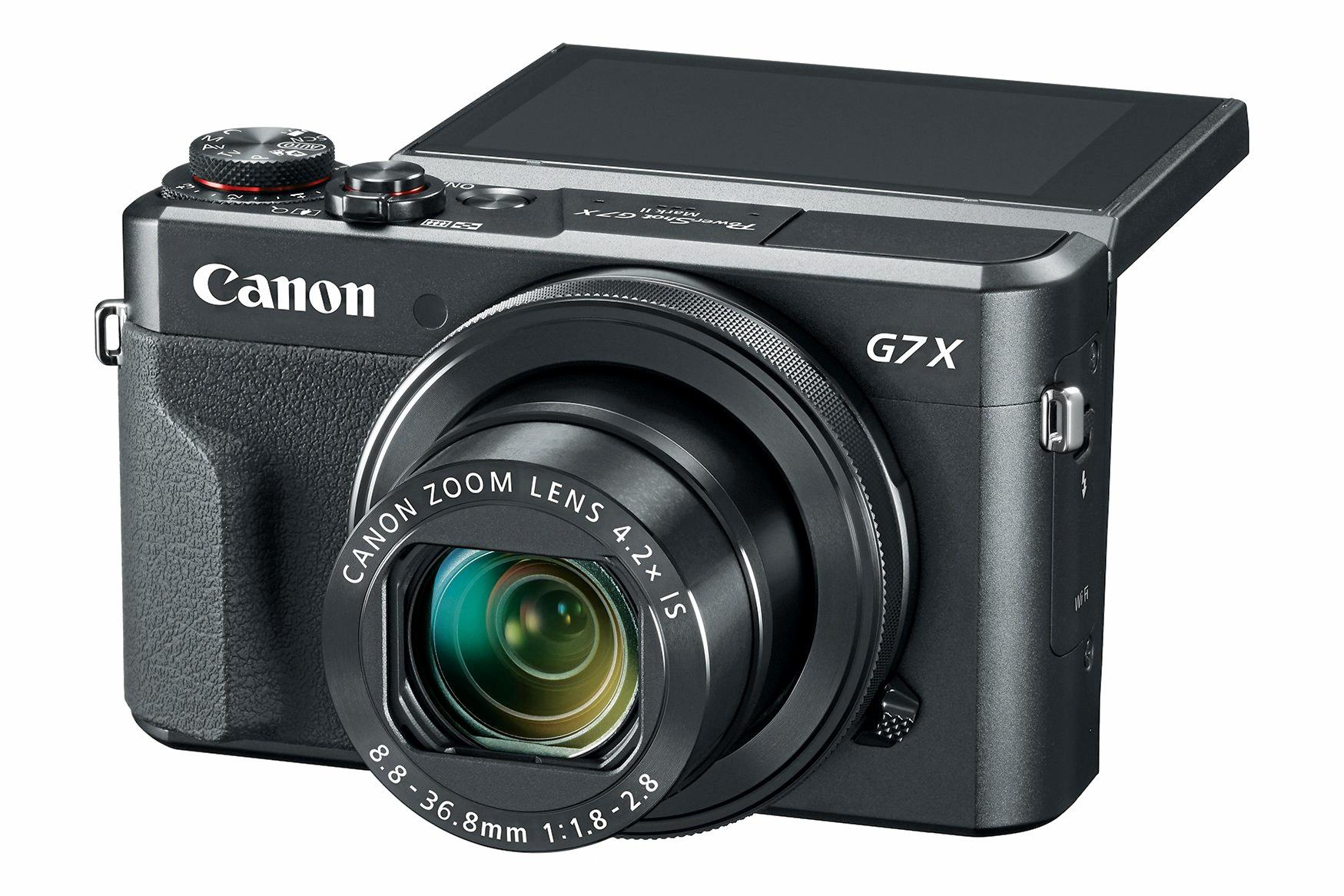 Canon Powershot G7X Mark II offers full manual controls and a handy tilt screen.