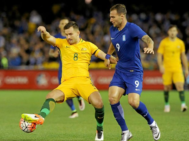 Bailey Wright in action for the Socceroos.