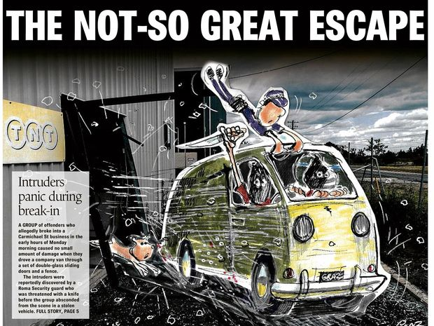 THE NOT SO GREAT ESCAPE: How the Chinchilla News reported on the robbery back in October.