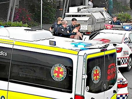 A 30-year-old Ipswich man is detained by police after creating mayhem in the CBD.
