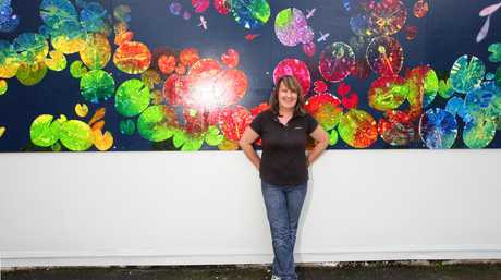 Artist  Meloney Steyl at Nambour Primary School's makeover.