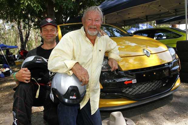 Ben van Wegen (black shirt) and dad Rob van Wegen with their Renault Megane at the Noosa Hill Climb 2016 Summer Challenge.
