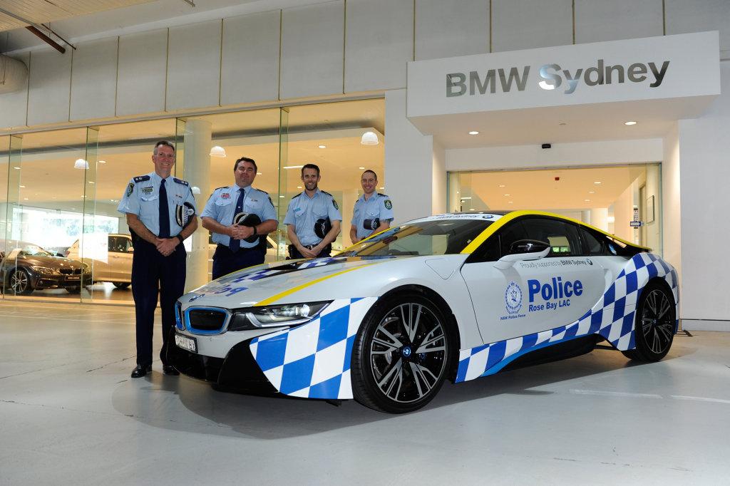 POLICE PRESENCE: NSW's Rose Bay Police Squad's $300,000 BMW i8 plug-in hybrid sports car.