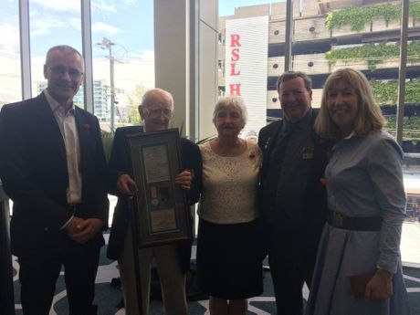 Maroochydore RSL members return the lost medal of Private George West to his niece Trish Dixon. Pictured are Tony Burkitt, Cedric Barnes, Maureen Ahearn, Drew Wall and Trisha Dixon.