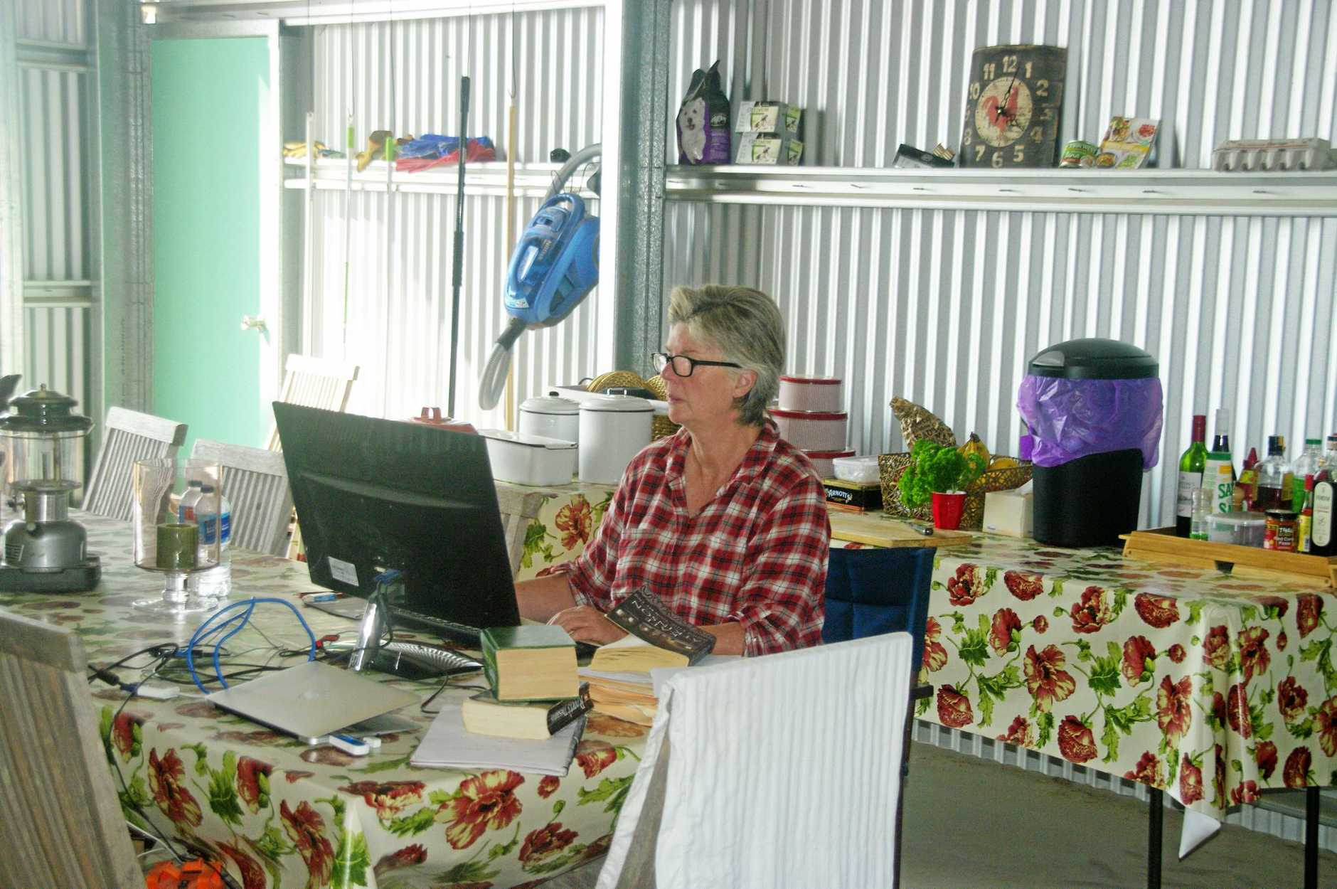Even in a tin shed Susan sticks to a regime of writing.