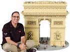Ryan McNaught beside a Lego Arc de Triomphe.